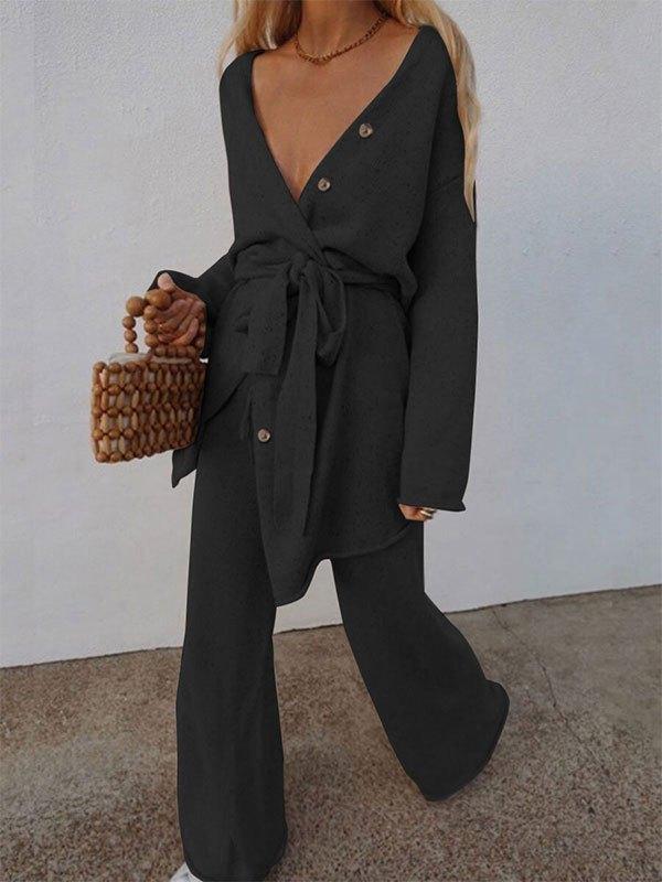 V Neck Belted Long Sleeve Set - Black L
