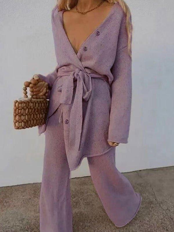 V Neck Belted Long Sleeve Set - Lilac S