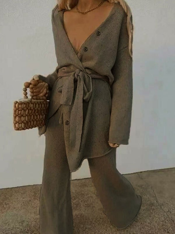 V Neck Belted Long Sleeve Set - Brown L