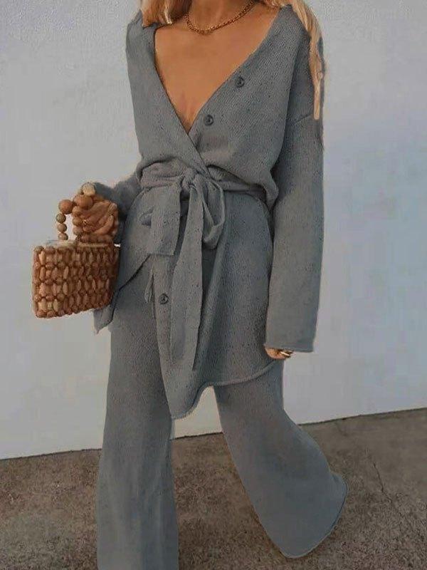 V Neck Belted Long Sleeve Set - Gray L