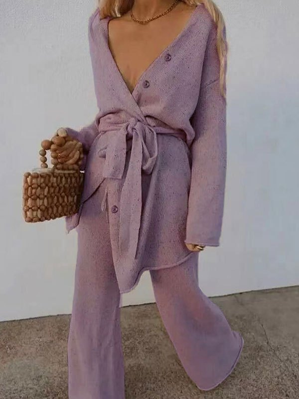 V Neck Belted Long Sleeve Set - Lilac L