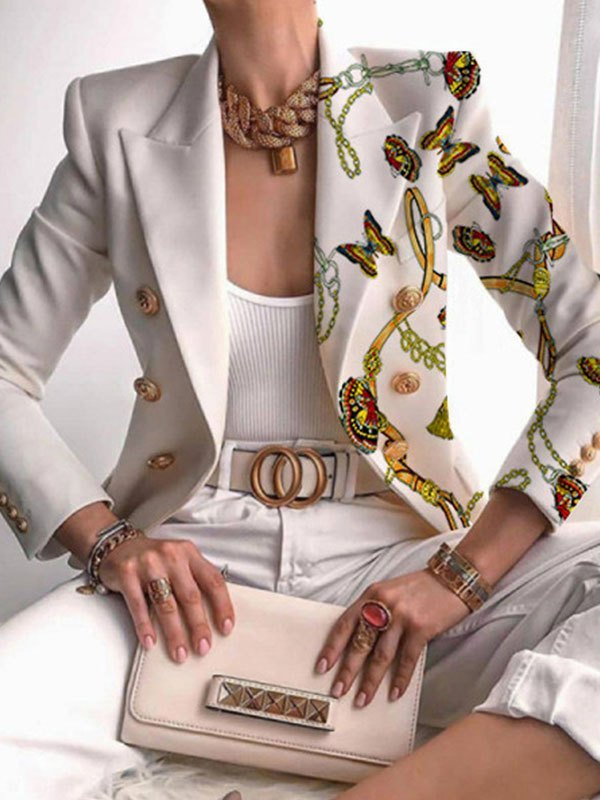 Butterfly Double Breasted Blazer - White M