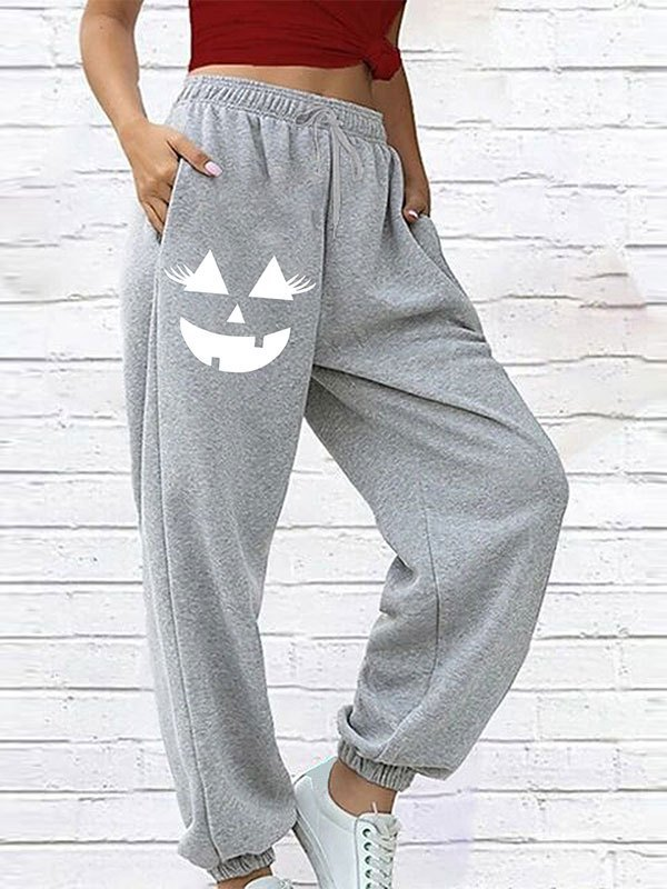 Pantaloni jogger con stampa sorrisetto - Grigio S