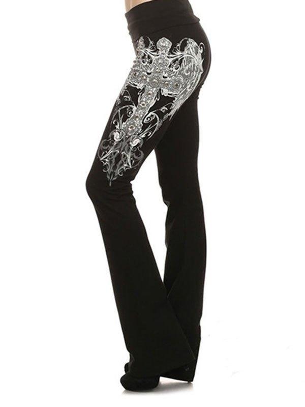 Pantaloni a gamba svasata elasticizzati stampati - Nero M