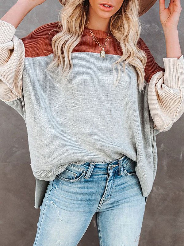 Color Block Oversized Sweater - Gray L