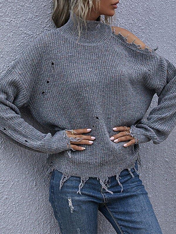 High Neck Cutout Knit Sweater - Gray M