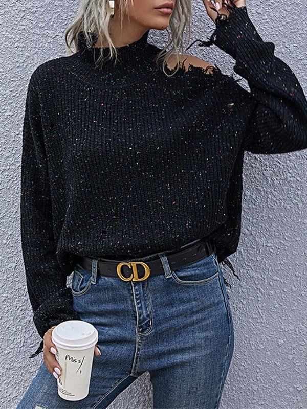 High Neck Cutout Knit Sweater - Black L