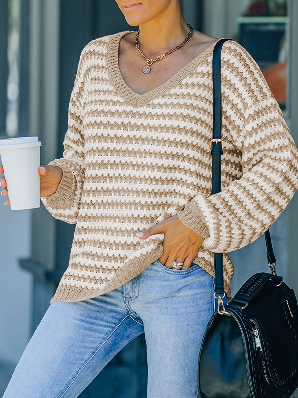 V Neck Striped Pullover Sweater - Khaki M