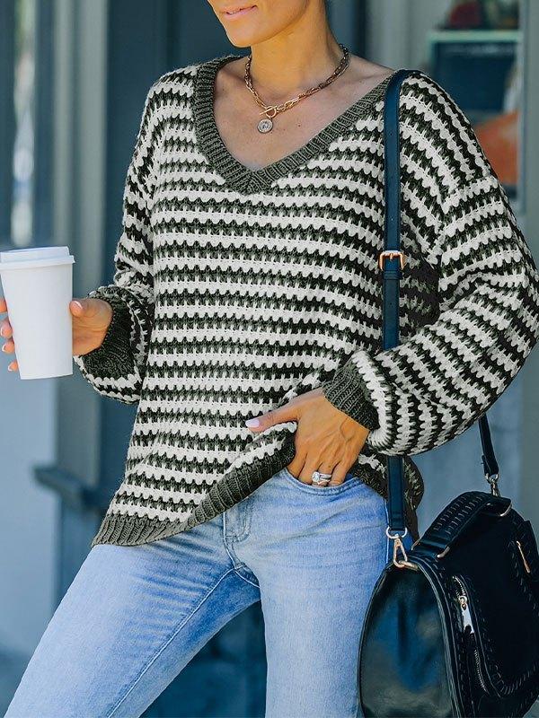 V Neck Striped Pullover Sweater - Green L