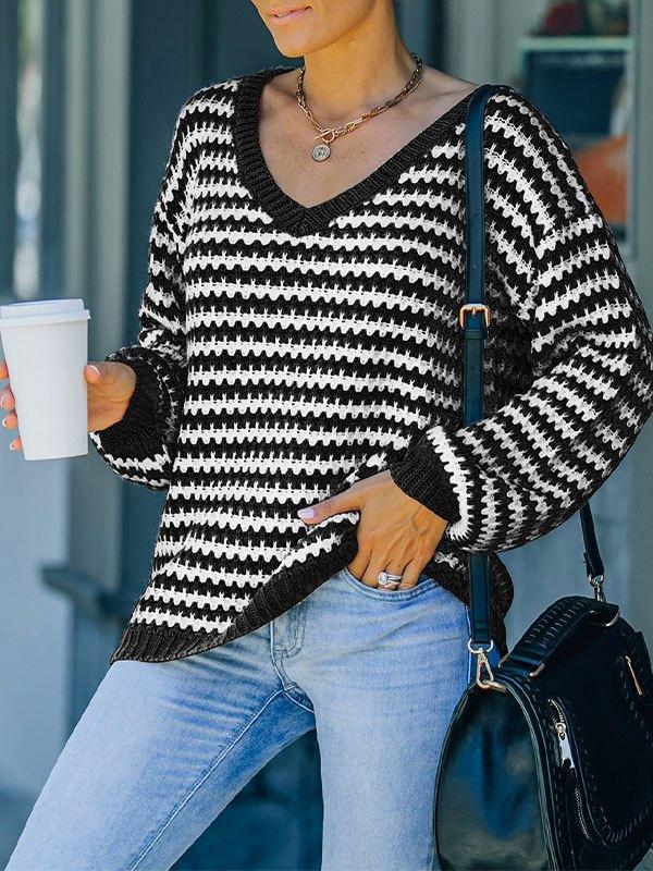V Neck Striped Pullover Sweater - Black S