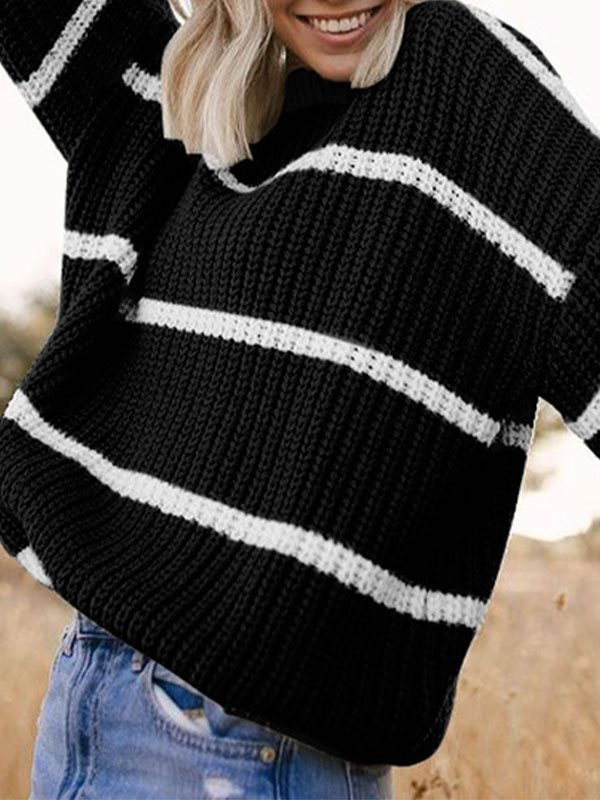 Crew Neck Striped Knit Sweater - Black S