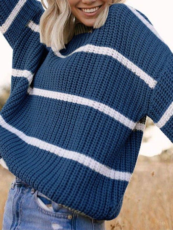 Crew Neck Striped Knit Sweater - Blue S