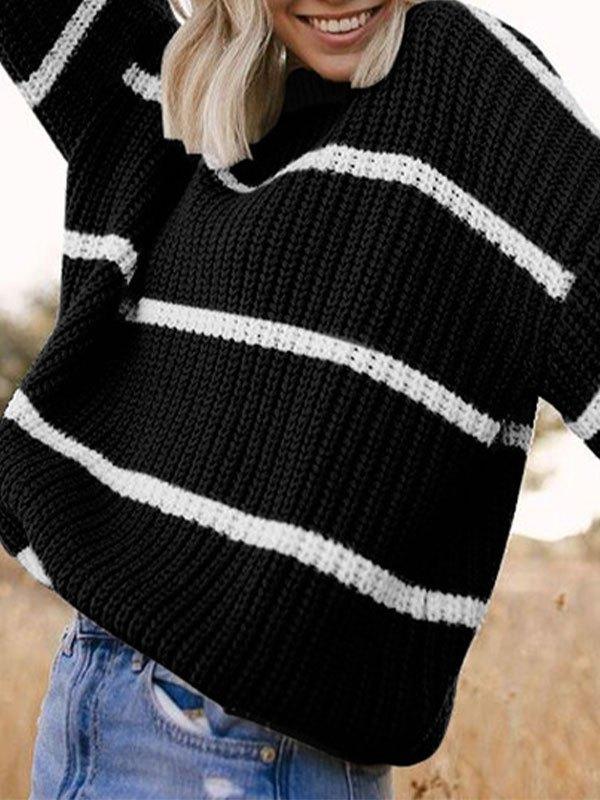 Crew Neck Striped Knit Sweater - Black L