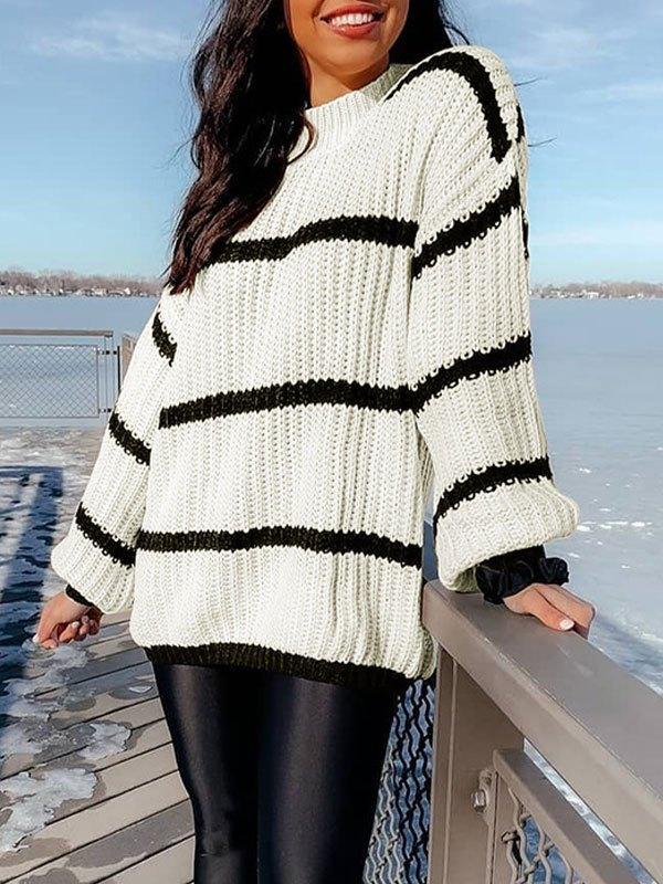 Crew Neck Striped Knit Sweater - White L