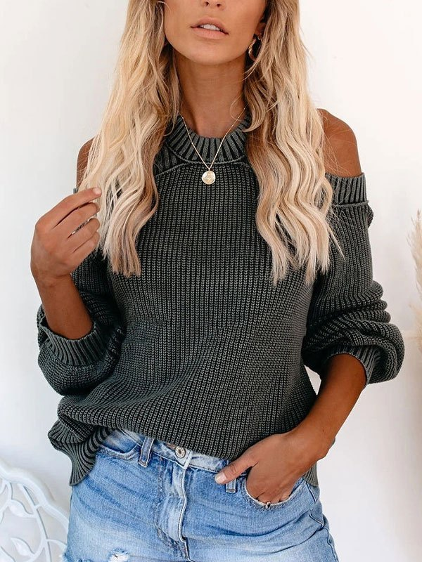 Cold Shoulder Crew Sweater - Gray S