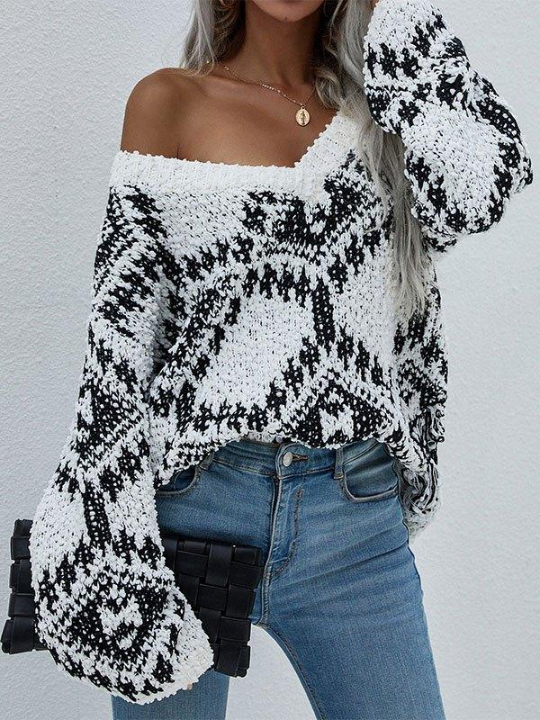 Oversize V Neck Jacquard Sweater - Black L