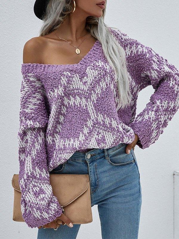 Oversize V Neck Jacquard Sweater - Purple L