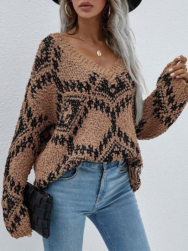 Oversize V Neck Jacquard Sweater - Brown L