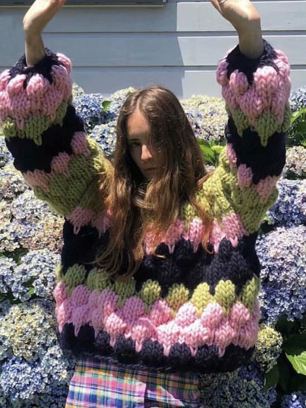Crochet Knit Color Block Oversized Sweater - Green ONE SIZE