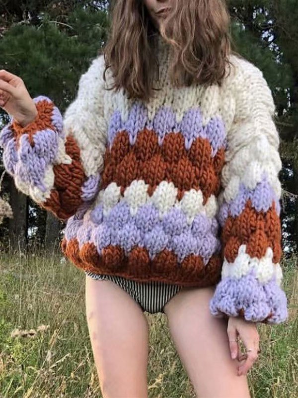 Crochet Knit Color Block Oversized Sweater - Red ONE SIZE