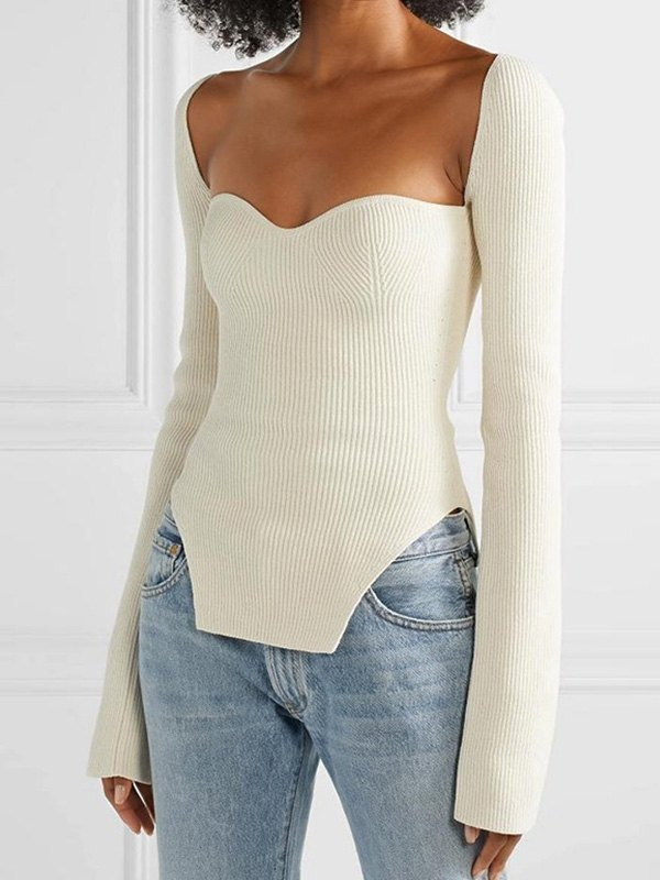 Irregular Rib Knit Sweater - White M