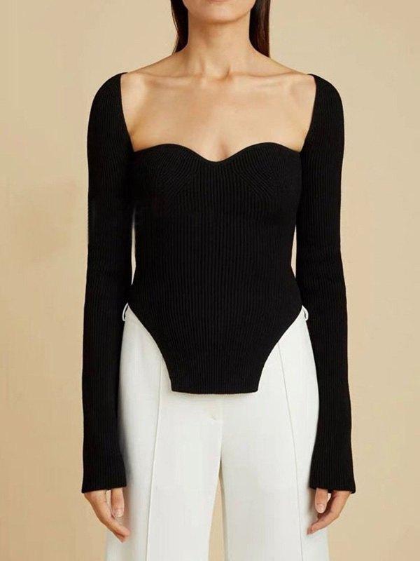 Irregular Rib Knit Sweater - Black M