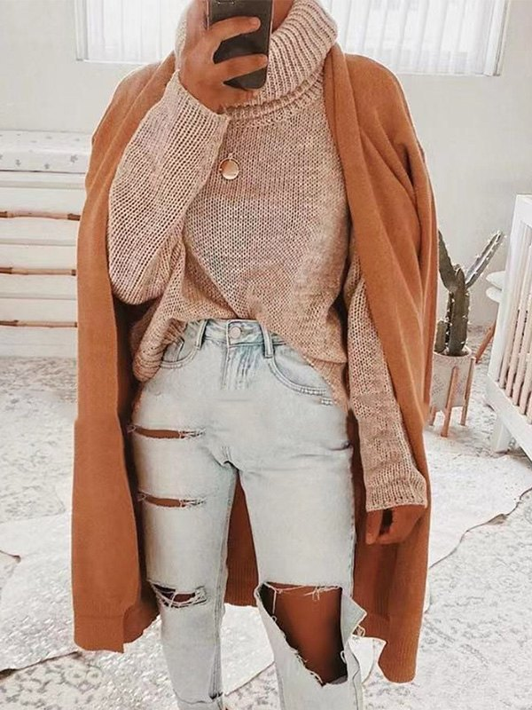 Backless High Neck Pullover Sweater - Khaki M