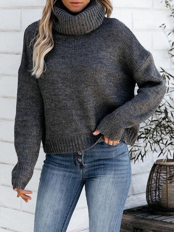 Backless High Neck Pullover Sweater - Dark Grey M