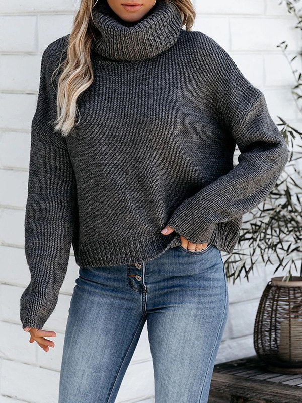 Backless High Neck Pullover Sweater - Dark Grey L