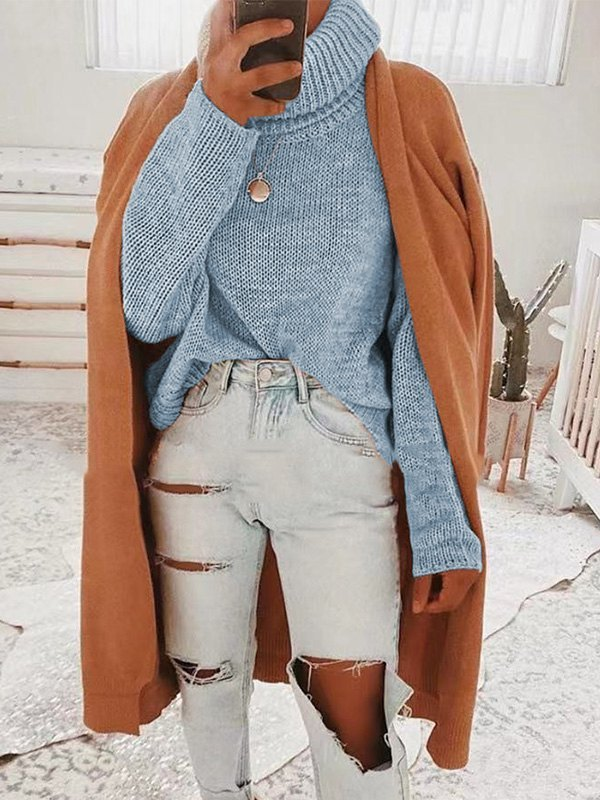 Backless High Neck Pullover Sweater - Blue S
