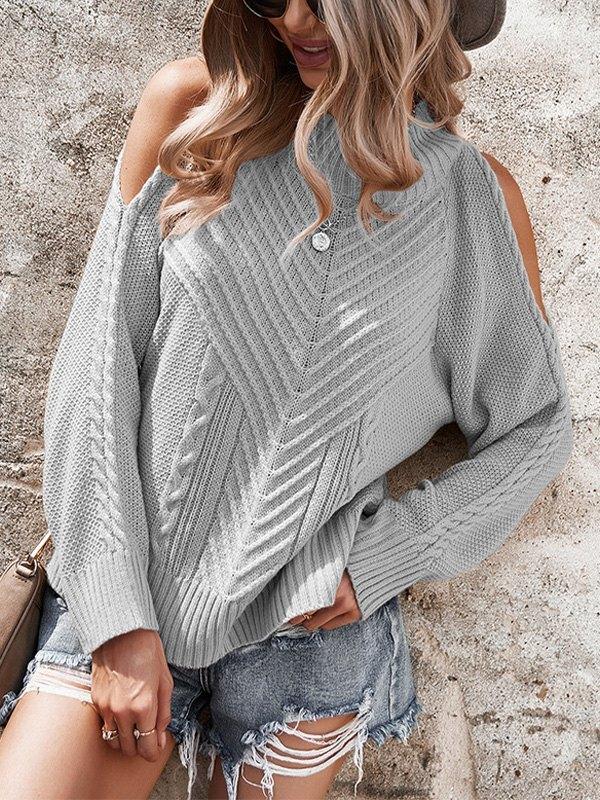 Cold Shoulder Crew Neck Sweater - Grey L