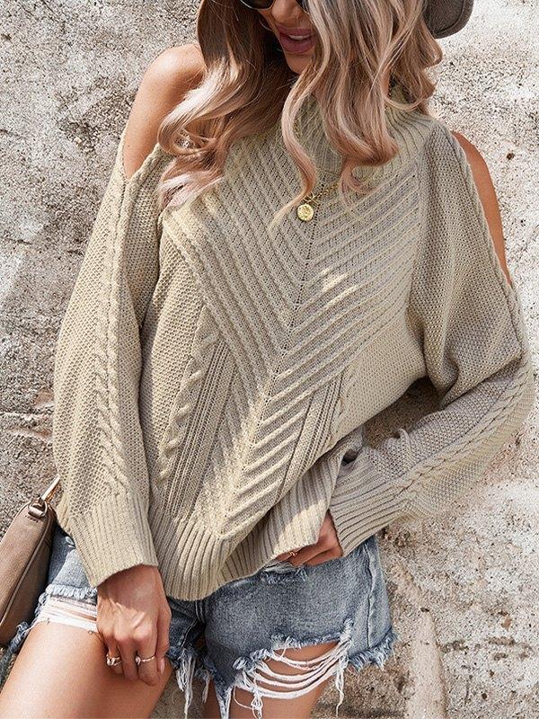 Cold Shoulder Crew Neck Sweater - Khaki L