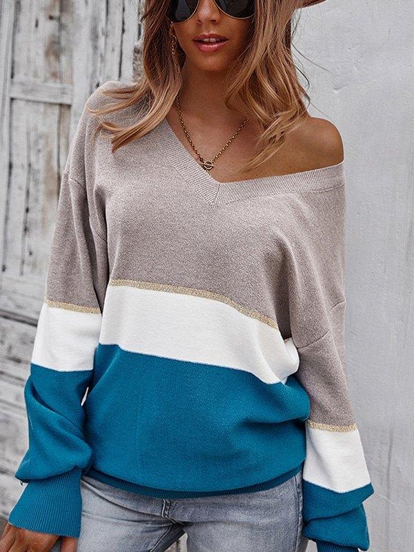 V Neck Color Block Sweater - Blue S