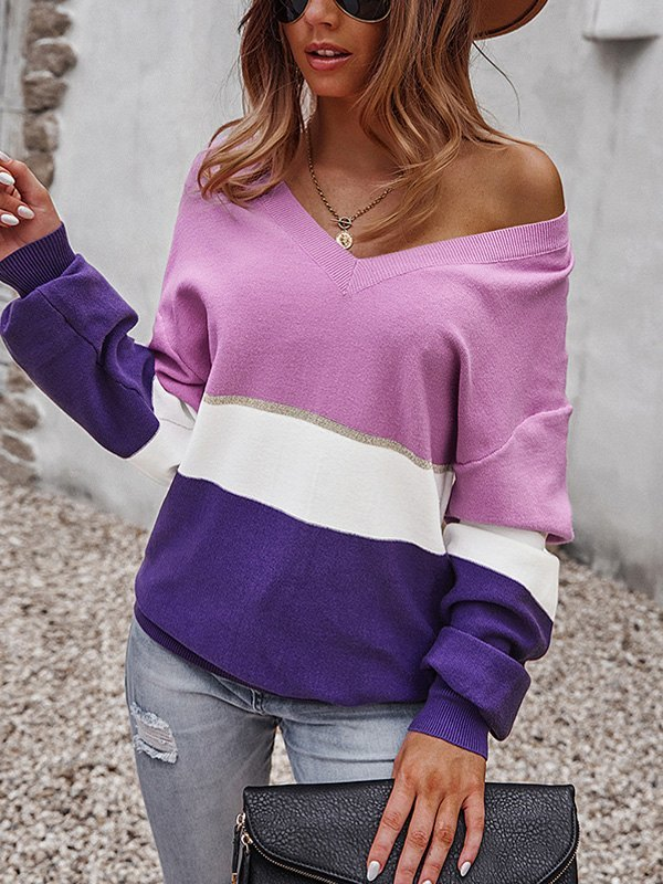 V Neck Color Block Sweater - Lilac L