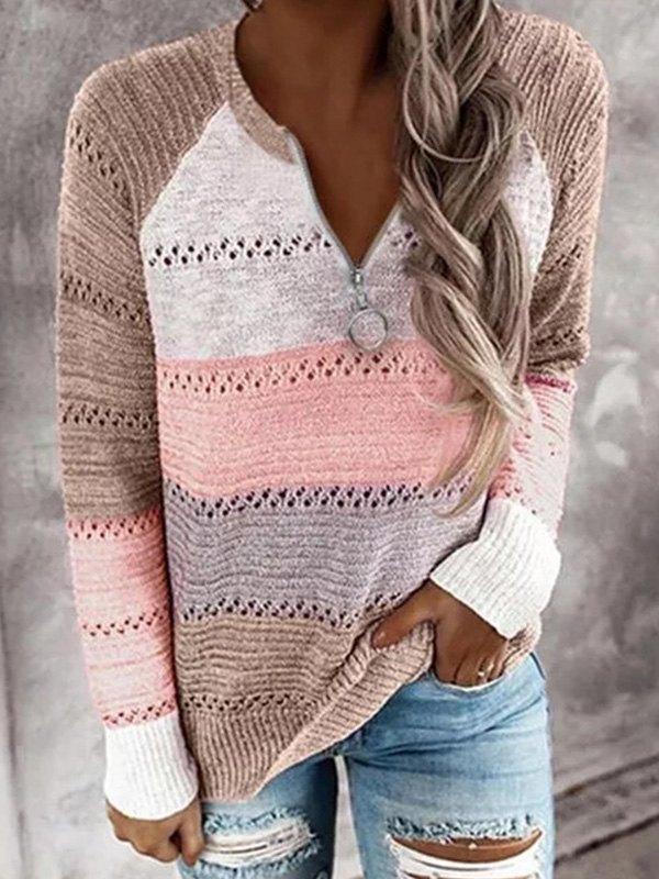 Quarter Zip Color Block Sweater - Pink S