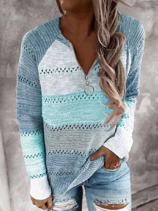 Quarter Zip Color Block Sweater - Blue XL