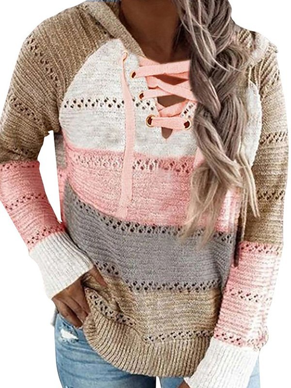 Lace Up Color Block Hooded Sweater - Khaki S