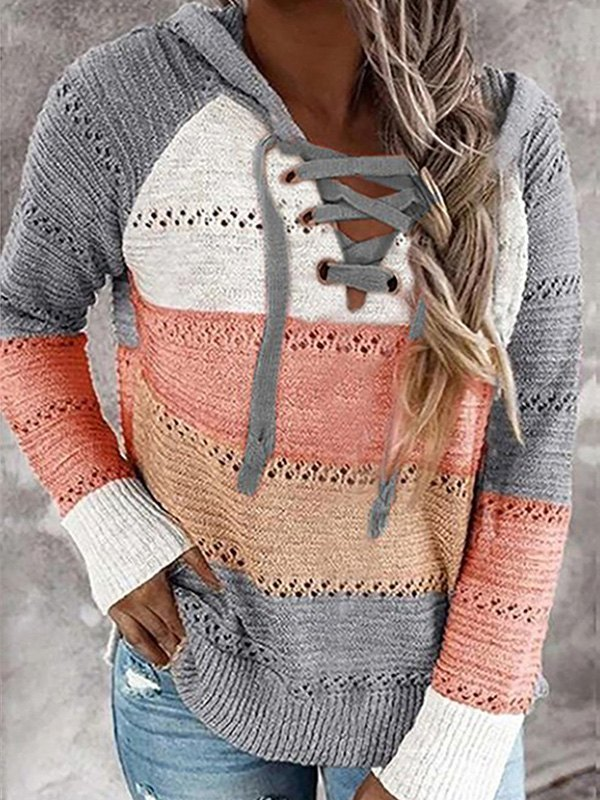 Lace Up Color Block Hooded Sweater - Gray M