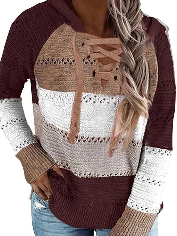 Lace Up Color Block Hooded Sweater - Burgundy M
