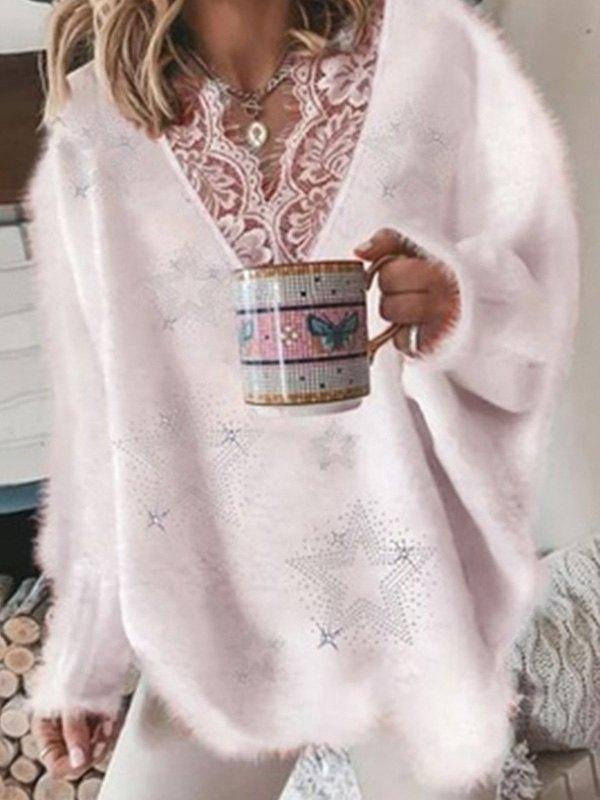 Oversize V Neck Lace Paneled Sweater - Pink L