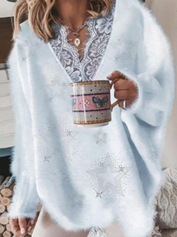 Oversize V Neck Lace Paneled Sweater - Blue L