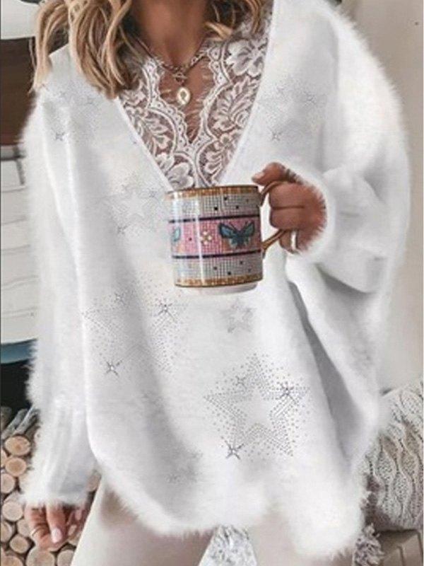Oversize V Neck Lace Paneled Sweater - White L