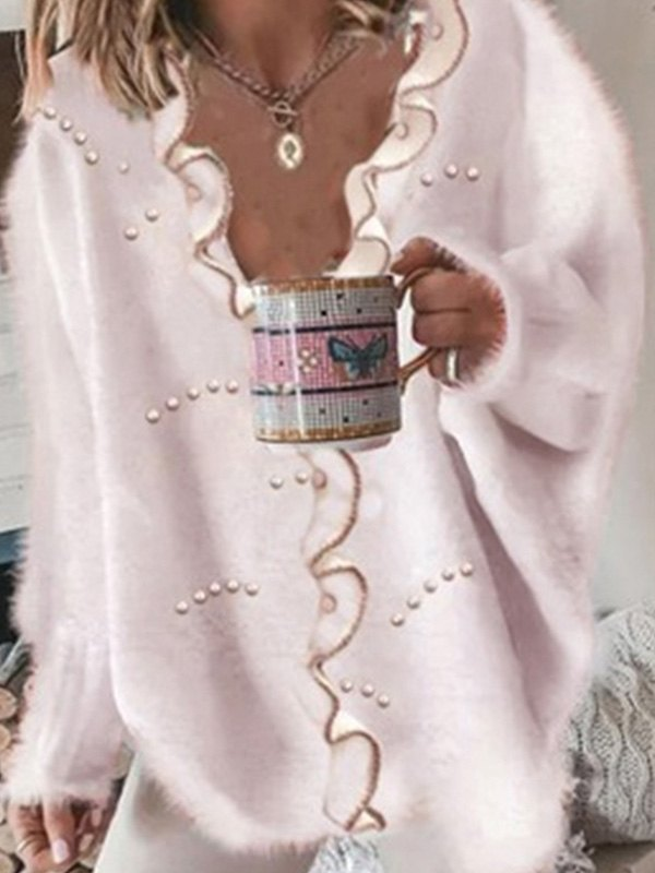 Faux Pearl Detail Oversized Sweater - Pink L