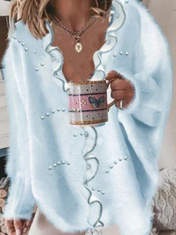 Faux Pearl Detail Oversized Sweater - Blue XL