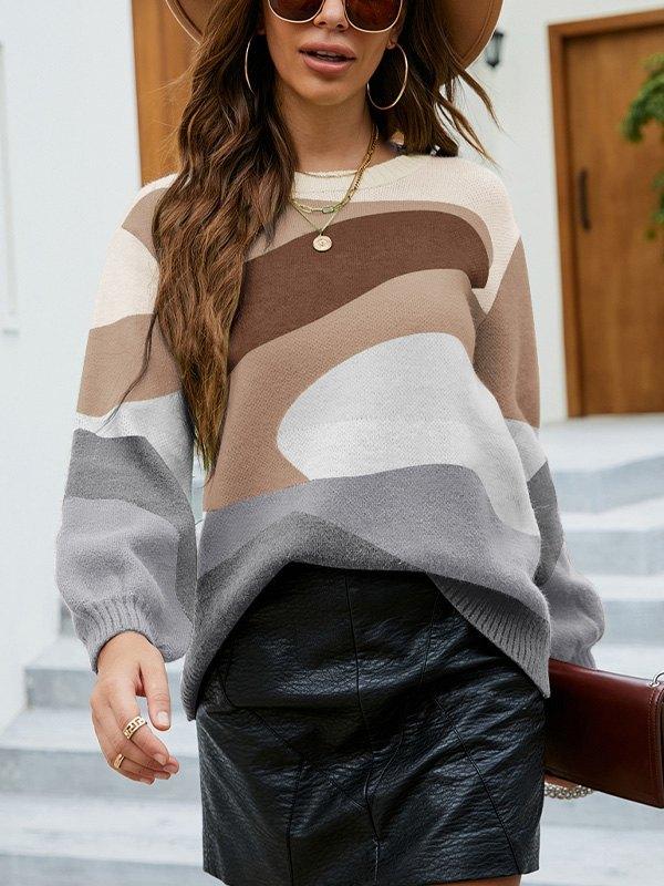Crew Neck Color Block Sweater - Khaki S