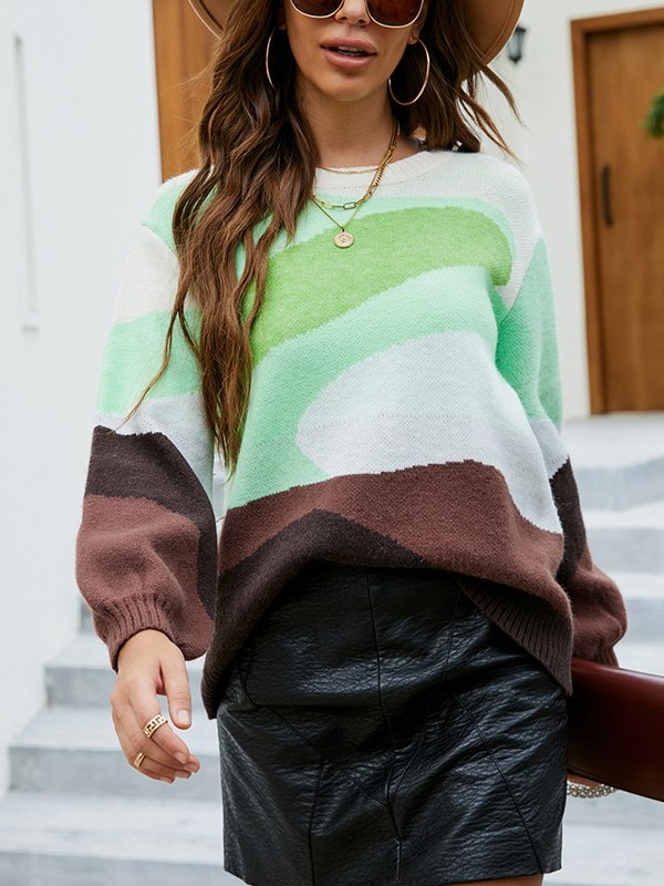 Crew Neck Color Block Sweater - Green XL