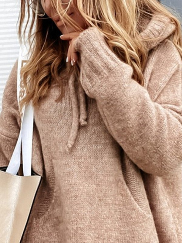 Hooded Pullover Knit Sweater - Khaki M