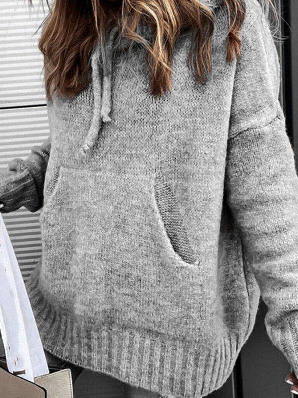 Hooded Pullover Knit Sweater - Gray L