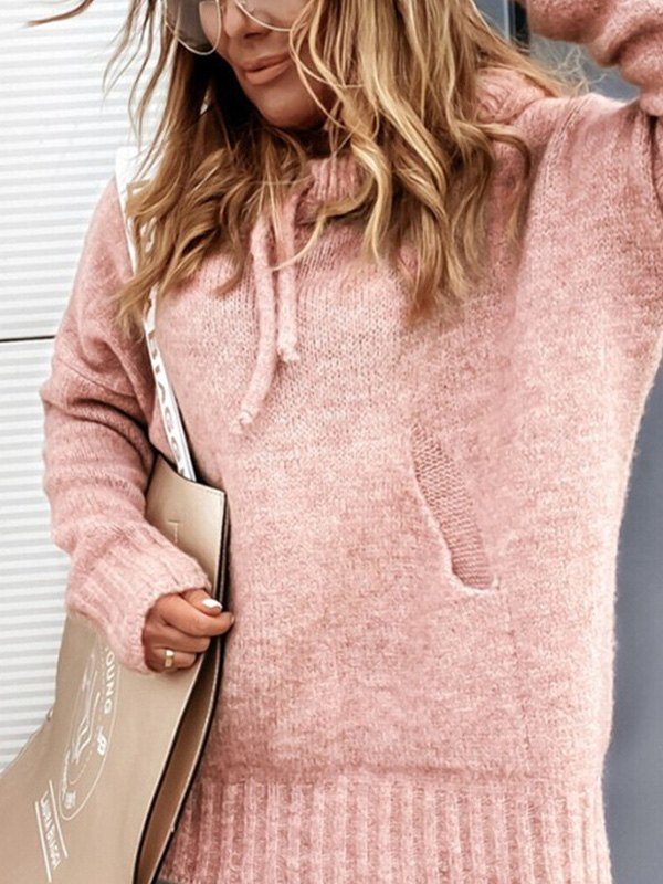 Hooded Pullover Knit Sweater - Pink S