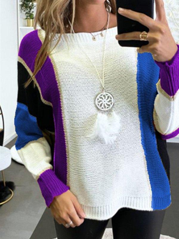 Oversized Color Block Knit Sweater - Purple XL